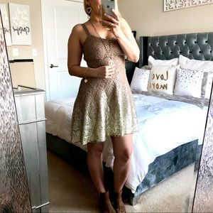 Free People Fit & Flare Gold Lace ombré dress XS
